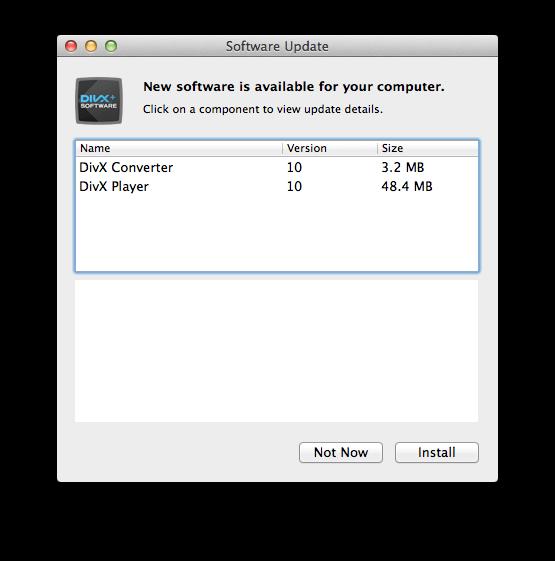 MacでDivXのソフトウェアアップデートの通知を表示されなくする方法