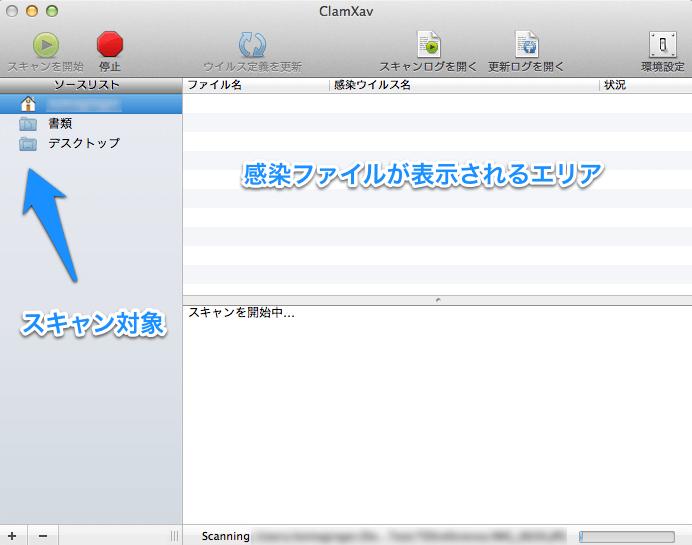 Mac用無料のアンチウィルスアプリClamXav